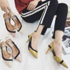 Color Block Slingback Pointed Pumps