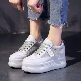 Platform Mesh Panel Lace Up Sneakers