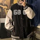 Numbering Two Tone Baseball Jacket