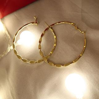Metallic Hoop Earrings Gold - One Size