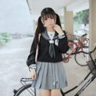 Sailor Collar Blouse / Pleated Mini Skirt / Set