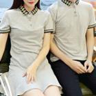Couple Matching Short-sleeve Patterned Trim Polo Shirt / Dress