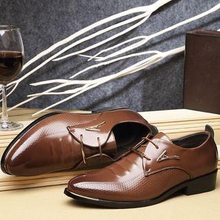 Faux Leather Metal Accent Oxford Shoes