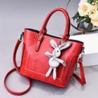 Rabbit Charm Faux Leather Top Handle Crossbody Bag