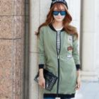 Patch Embroidered Long Bomber Jacket