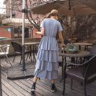 Round-neck Tiered Long Dress