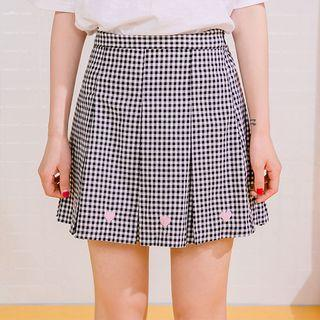Pleated Gingham A-line Mini Skirt