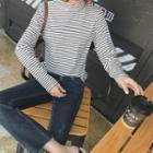 Mock-neck Striped Long-sleeve Knit Top