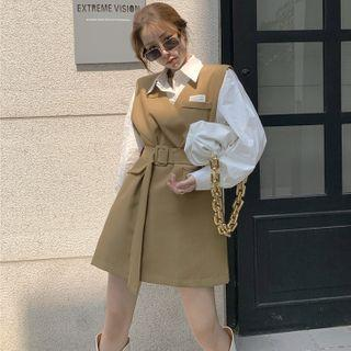 Long-sleeve Plain Shirt / Sleeveless Mini Dress With Belt