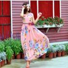 Sleeveless Printed Maxi Chiffon Dress
