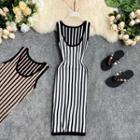 Striped Knitted Sleeveless Sheath Dress