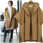 Short-sleeve Hooded Woolen Coat