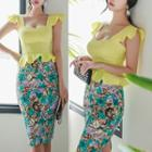 Set: Strappy Top + Floral Print Midi Fitted Skirt
