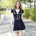 Contrast Trim Bow Accent Short Sleeve Dress