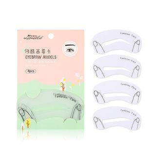 Set Of 4: Eyebrow Stencil (various Designs) 4 Type Of Shape - Transparent - One Size