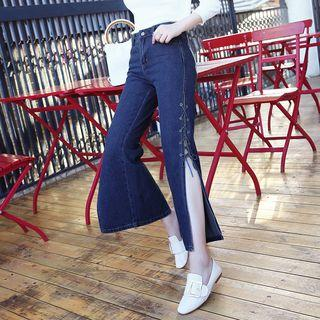 Lace-up Side Slit Straight Cut Jeans