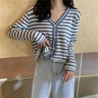 Striped Button Knit Top