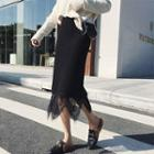 Lace-layered Knit Skirt Black - One Size