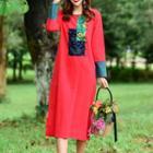 Applique Long-sleeve Midi Dress