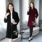 Flower Embroidered Faux Fur Coat