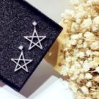 925 Sterling Silver Rhinestone Star Dangle Earring Silver - One Size