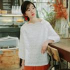 Puff 3/4-sleeve Lace Top
