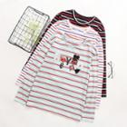 Letter Applique Striped Long Sleeve T-shirt