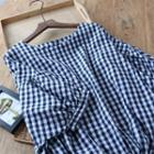 Short-sleeve Gingham Drawstring Blouse Navy Blue - One Size