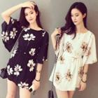 Elbow-sleeve Floral Print Mini Dress