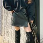 Slit-hem Pleather A-line Miniskirt