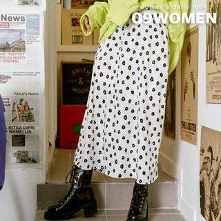 Flower-patterned Long Flare Skirt