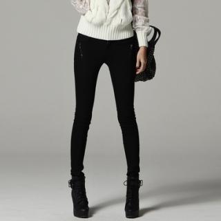 Zip-detail Skinny Pants