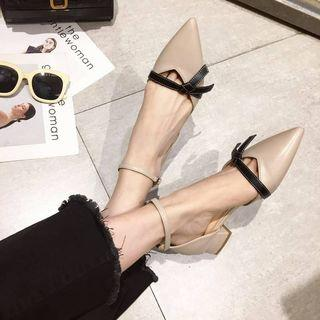 Block Heel Ankle Strap Pointed Pumps