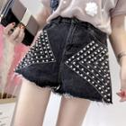 Faux-pearl Denim Shorts