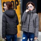 Pinstriped Hooded Padded Jacket