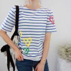 Heart Print Stripe T-shirt