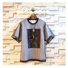 Mesh Inset Mock Two-piece Short-sleeve T-shirt