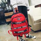 Color Block Lettering Belted Canvas Backpack