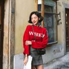 Letter Boxy-fit Knit Top