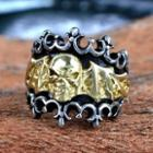 Titanium Steel Skull Ring Yellow - 7