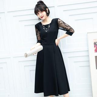 Lace-sleeve Tie-waist Midi A-line Dress