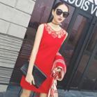 Sleeveless Lace Panel Knit Dress