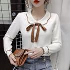 Collared Bow Knit Top