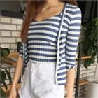 Set: V-neck Stripe Cardigan + Camisole Top