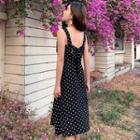 Sleeveless Midi Dotted A-line Dress