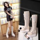 Platform Hidden Wedge Mesh Tall Boots