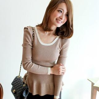 Contrast-trim Ribbed Knit Top