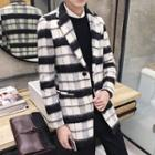Plaid Notch Lapel Long Coat