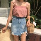 Distressed Loose-fit Denim Skirt