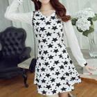 Long-sleeve Star Pattern A-line Dress